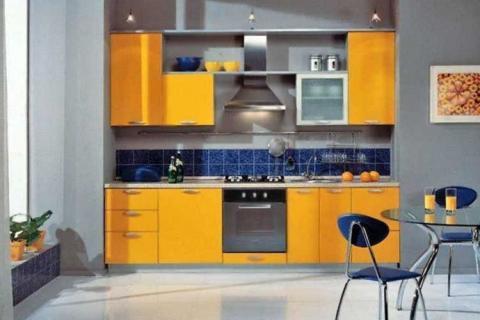 Кухня желто-синяя