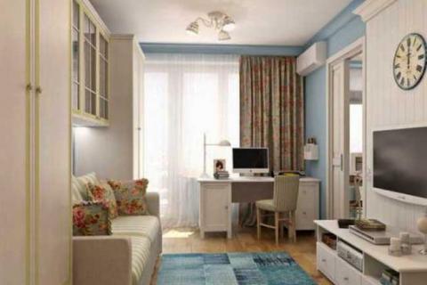 оформление квартиры хрущевки в бело-голубых цветах