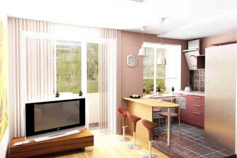объединение кухни и комнаты в квартире-хрущевке