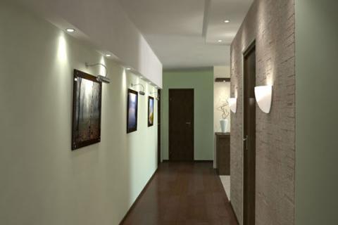 встраиваемые светильники в потолке коридора