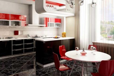 Кухня с черными фасадами внизу и красными вверху