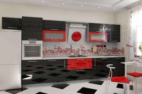 кухня с черными и красными фасадами