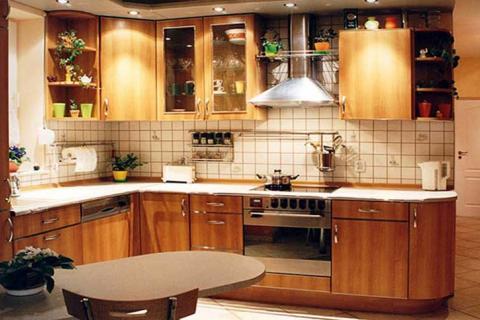 l-образная деревянная кухня