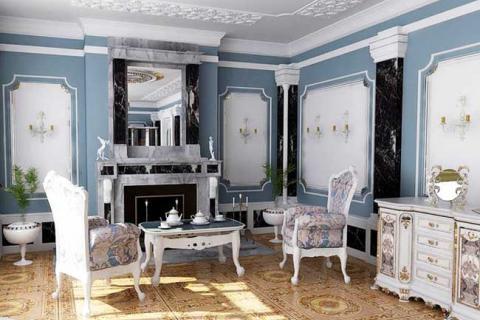 лепнина в бело-голубой гостиной
