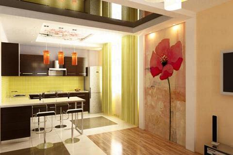 встроенные светильники - подсветка декоративной стены