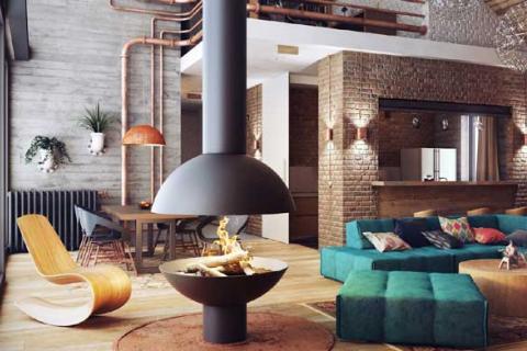 камин в квартире стиля лофт