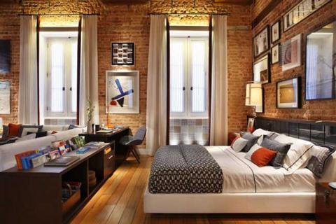 спальня-гостиная в стиле лофт