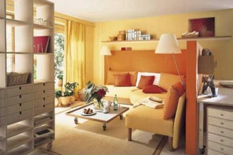 Высокий стеллаж в маленькой гостиной