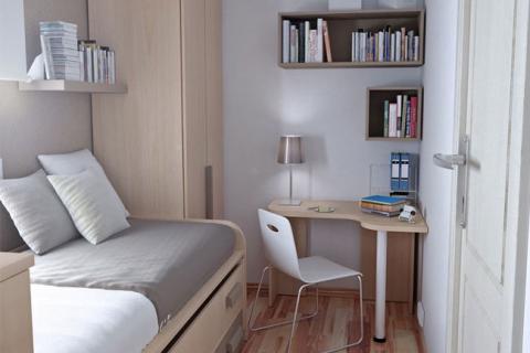 интерьер очень маленькой спальни