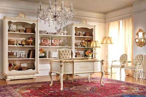 белая мебель для кабинета в стиле барокко