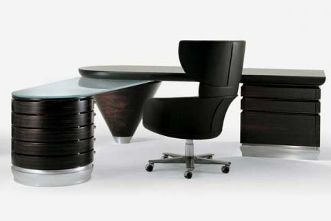 темный кабинетный стол современного стиля