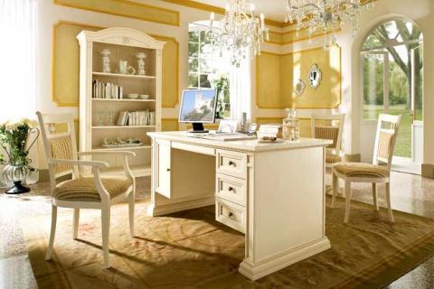 белая мебель для кабинета в классическом стиле