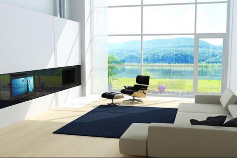 гостиная со стеклянной стеной в стиле минимализм