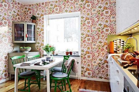 цветные обои в кухне