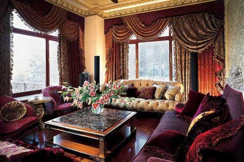 барочная гостиная фиолетово-золотая