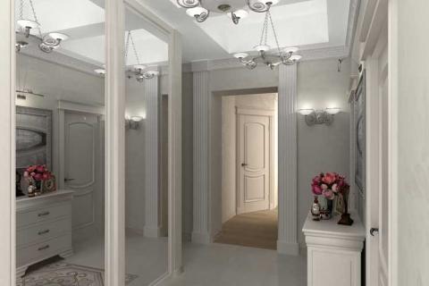 дизайн узкого коридора с зеркалами
