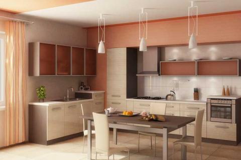 бежево-лососевые цвета на кухне