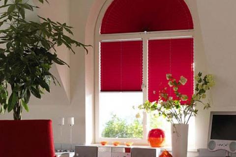 малиновые шторы-плиссе