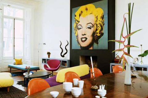 постер с Мерилин Монро в интерьере поп-арт