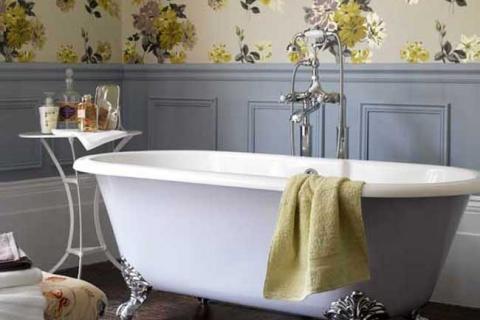 сиреневая ванная в стиле прованс