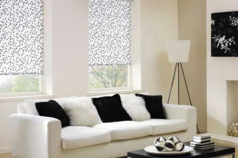 бело-черные рулонные шторы