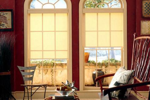 рулонные шторы на окна в гостиной