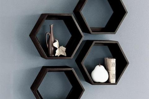 навесные полки-шестиугольники