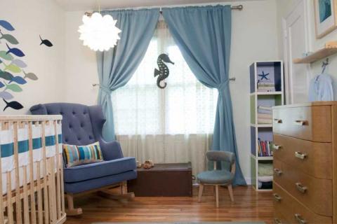 голубые шторы в морском стиле