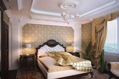 спальня декорированная лепниной