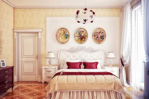 светло-желтые обои в интерьере спальни