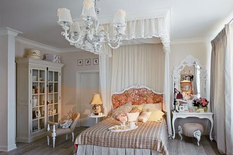 белый балдахин над кроватью