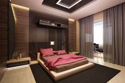 небольшая монохромная спальня