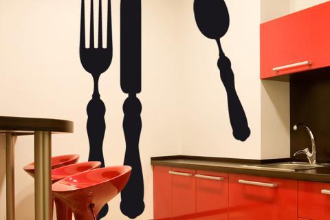 наклейки на красной кухне