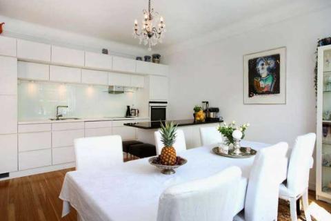 белая столовая-кухня