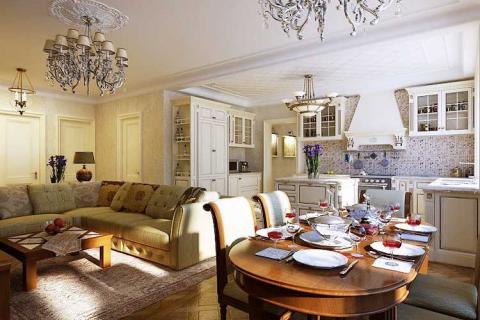 Столовая, гостиная, кухня объединены