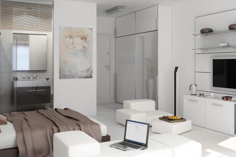 студия с открытой ванной
