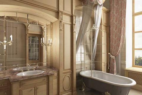 ванная в классическом стиле с деревянной мебелью