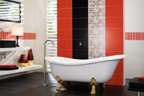 плитка разных видов в ванной
