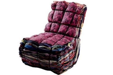 кресло из старых тканей