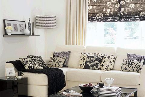 гостиная в черно-белых цветах