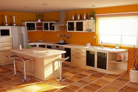 кухня с оранжевыми стенами