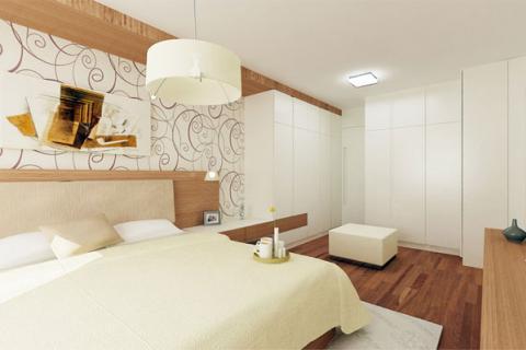 спальня белого цвета в сочетании с деревом