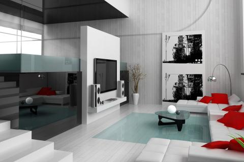 бело-черная гостиная с красными акцентами