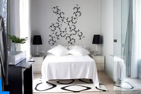 бело-черная спальня