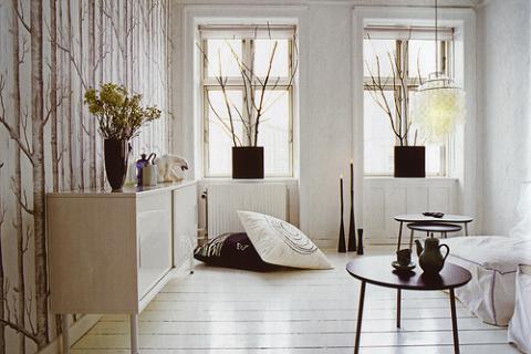 белая гостиная в эко-стиле