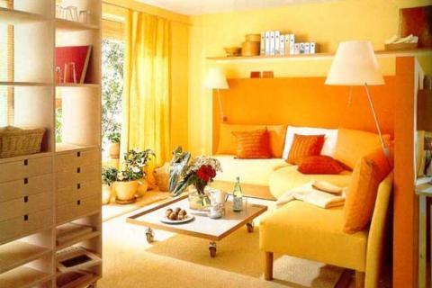 маленький зал с яркими стенами и перегородкой