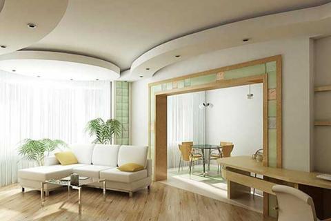 дизайн зала с плавными линиями