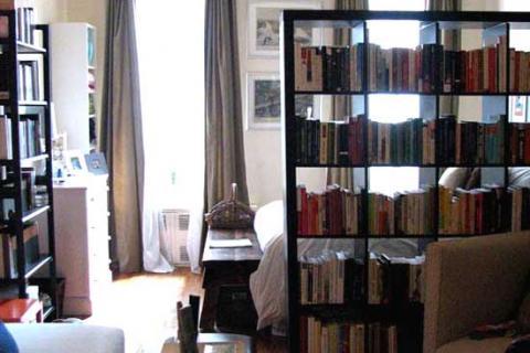 перегородка-стеллаж в маленькой комнате