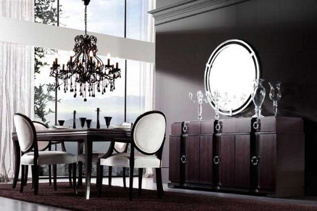 черно-белая столовая в стиле арт-деко
