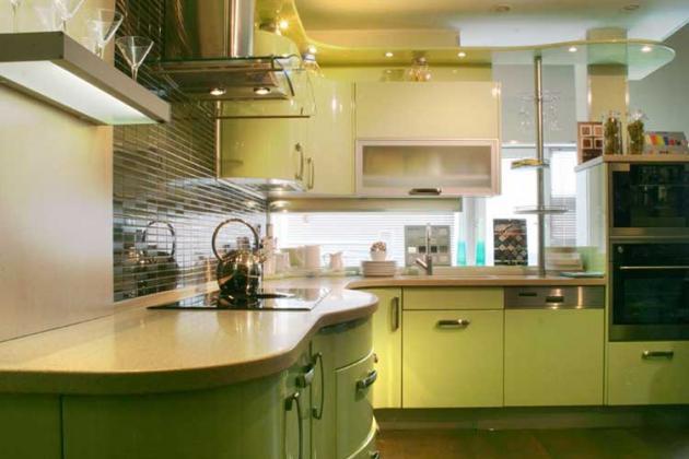 светло-зеленый цвет кухни